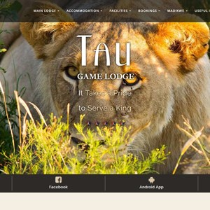 Tau Game Lodge Website